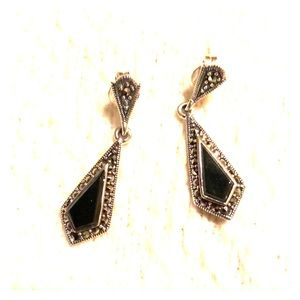 Jewelry - Sterling Silver Kite Black Onyx Marcasite Earrings